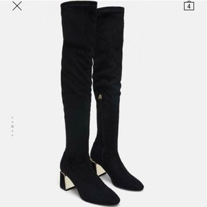 Zara over the knee boots with gold heel